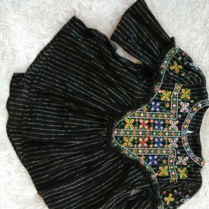 Zara Woman Black Embroidered Boho Festival Top M